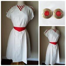 Vintage Women's Dress Mod Retro White Red Criss Cross Cutout Matching Earrings