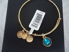 Alex and Ani DECEMBER Birthstone BLUE ZIRCON Gold Charm Bangle NWT Card & Box