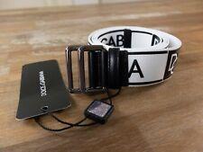 $415 DOLCE & GABBANA white black fabric & leather logo belt Size 100 / 40 - NWT