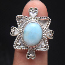 Dominican republic larimar Gemstone 925 Sterling Silver Jewelry Ring Size us 7