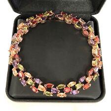Sparkling Multi-Color Topaz Tennis Bracelet Gold Filled Women Wedding Jewelry