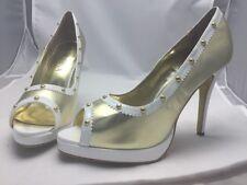 Miss Tina Gold Open Toe Shoes 11M 295959 NIB