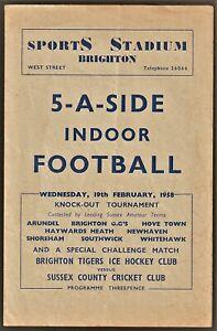 BRIGHTON SPORTS STADIUM 5-A-Side football programme 1958