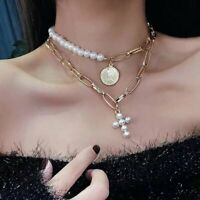 2pcs/set Boho Gold Chain Pearl Necklace Coin Pearl Cross Pendant Choker Chunky