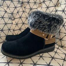 SPRING STEP Suede Fur Cuff Wedge Heel Boots sz 7