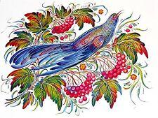 ornamental folk art bird berry Accent Tile Mural Kitchen Backsplash Ceramic 8x6