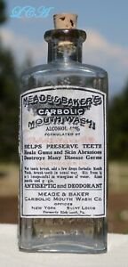 Antique CARBOLIC TOOTH WASH bottle preserves TEETH heals GUMS, DESTROYS germs