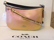 NWT. Coach Metallic Gold Leather Chelsea Hologram Cross-body Shoulder Bag 37158