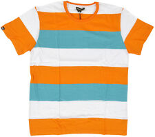 IMPERIOUS Striped T-Shirt Orange Teal White Stripes Streetwear Mens M-XL NEW