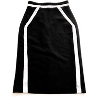CUE Women's Size 8 Black Grey Colour Block Midi Length Straight Pencil Skirt