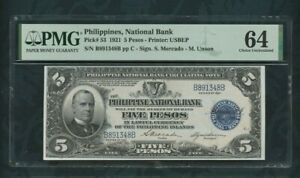1921 philippines, National  Bank  Pick# 53  5 pesos  PMG 64