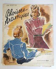 Vintage WW2 French Paris High Fashion Magazine Lyon Blouses Artisiques1941