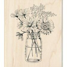Floral Mason Jar Wood Mounted Rubber Stamp by INKADINKADO 60-01218 NEW