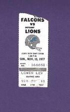 11/13/1977 Detroit Lions @ Atlanta Falcons Football Ticket Stub