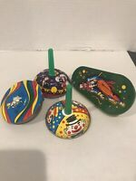 Lot Of Four Vintage Tin Noise Makers  US Metal Toy MFG Co