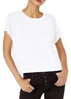 $38 NWT BETSEY JOHNSON WOMENS WHITE STRIPE BAND CUTOUT BOXY TEE SIZE XL- JC313