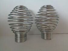 Pair Of Chrome Effect Swirl Spiral Cage Finials Ends For 28mm Curtain Pole