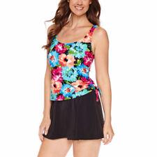 Le Cove Swim Dress Size 20W PLUS Floral Blue Pink Orange Black $104 New