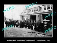 OLD 8x6 HISTORIC PHOTO OF COLUMBUS OHIO THE FIRE DEPARTMENT & STATION c1924