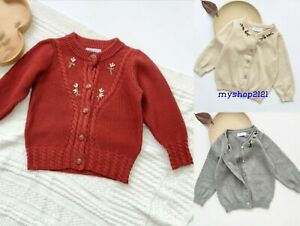 Girls Cardigan Autumn Winter Long Sleeve Knitted Christmas Jumpers Age 2-8 Years