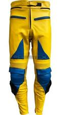 CAMEL RACING Sports Yellow & Blue Motorcycle Biker CE LEATHER Trouser Pant Jeans