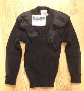 Blauer Commando 100% Wool V-Neck Sweater 200 Police Blue Color S Reg / New