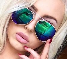 Green Mirror Aviator Sunglasses Classic Gold Metal Retro Vintage Fashion Style