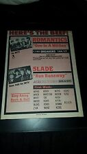 Romantics And Slade Rare Original Radio Promo Poster Ad Framed!