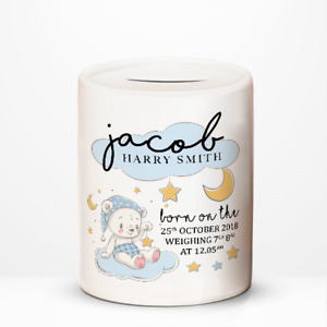 Personalised Baby Boy New Arrival Birth Details Money Box Jar Memory Gift