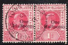 CAYMAN ISLANDS USED 1907 SG17 1/2d on 1d Carmine Pair