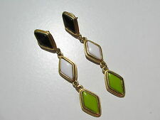 VTG.BLACK WHITE LIME GREEN POURED GLASS CABOCHON STONES ARTICULATED POST EARRING