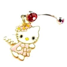 Piercing Nombril Acier et Cristal Fushia pendentif Hello Kitty Ange Plaqué Or