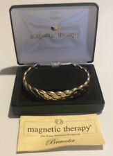 MAGNETIC THERAPY BRACELET Twist Slave Bangle Boxed Instructions Gold Tone Metal
