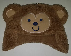 Carter's Brown Bear Cap Hat Baby Infant 0-3 Months Brown Fleece Just One You