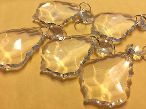 10PCS LARGE CLEAR CHANDELIER CRYSTAL LAMP PARTS GLASS PRISMS 50MM PENDANT DROPS