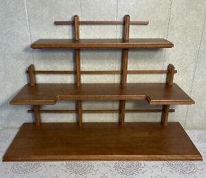 "Oak Color 3-Tier Shelf for Displaying Figurines 21"" Long x 14"" High x 8"" Deep"