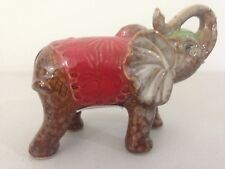 Indian Elephant Figurine Ornament Statue Sculpture Trunk up Red