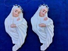 Madonna & Child Baby Jesus Set Lot of 2 Ornaments Department 56 Antique Estate