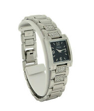 Caravelle by Bulova 43L115 Women's Black Square Analog Clear Stones Watch