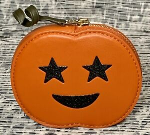 NEW Coach Halloween Jack O Lantern Coin Case Leather 4160 Bright Ginger