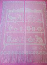paire de rideaux blanc vintage 160 cm x 60 cm motif CHAT / curtain cat
