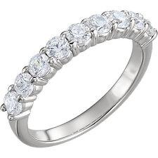 9 Round Diamond Band Anniversary Ring 14k White Gold 0.10 ct 0.91 tcw