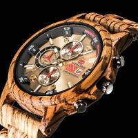XL Herren Armband Uhr Oliven Holz Braun Wooden Watch KH12 Männer Chronograph
