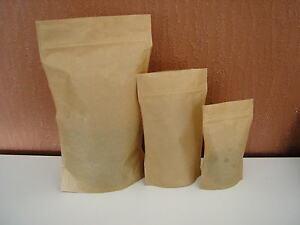Kraft Brown Paper Heat Seal Stand Up Bags ZipLock - Food Grade