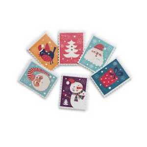 30pcs Stamp shape Christmas Wooden Buttons Scrapbooking Sewing Cloth Decor 38mm