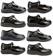 KIDS GIRLS BLACK PATENT SCHOOL DOLLY LOAFERS T BAR FLAT BUCKLE STRAP SHOES SIZE