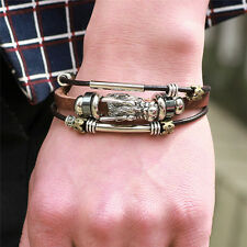 Multilayer Leather Tibetan Silver Bracelet Parataxis Dragon Men Accessoires HV