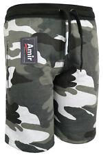 Men's Fleece Elasticated Camouflage Jogger Shorts With Zip Pockets Camo S-2XL