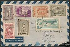 Greece 1951 franked Airmailcover to Belgium