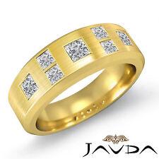 6.75mm Mens Wedding Band Princess Diamond Matt Finish Ring 14k Yellow Gold 1Ct